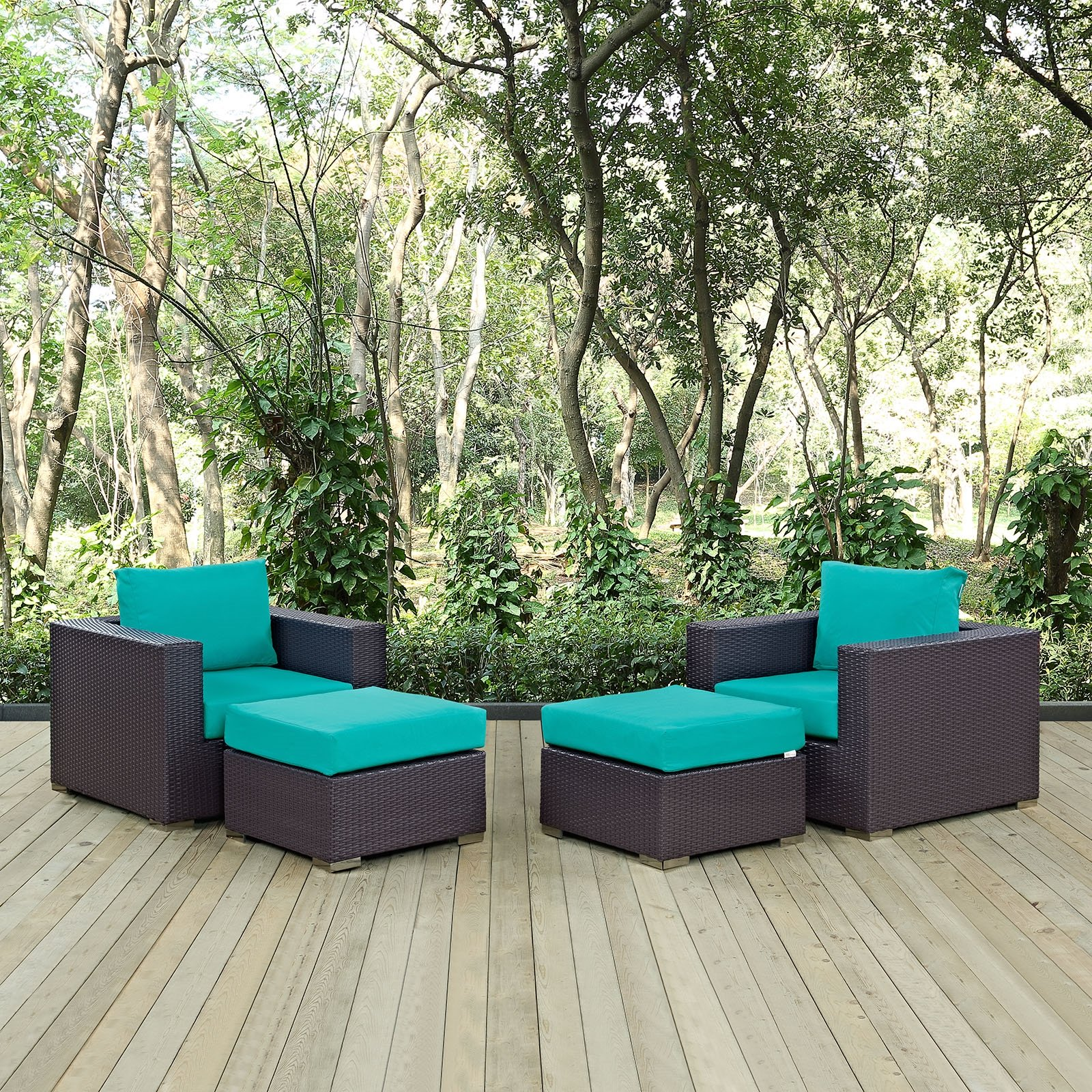 Convene 4 Piece Outdoor Patio Sectional Set in Espresso Turquoise
