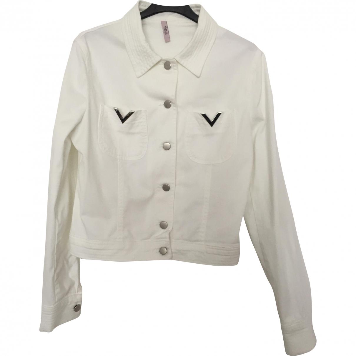 Red Valentino Garavani \N White Cotton Leather jacket for Women 42 FR