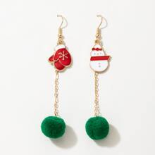 Christmas Pom Pom Drop Earrings