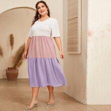Grosse Grossen - Mehrschichtiges Kleid mit V Kragen und Farbblock