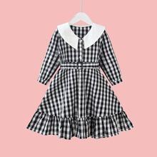 Vestidos para niña pequeña Boton Guingan Preppy