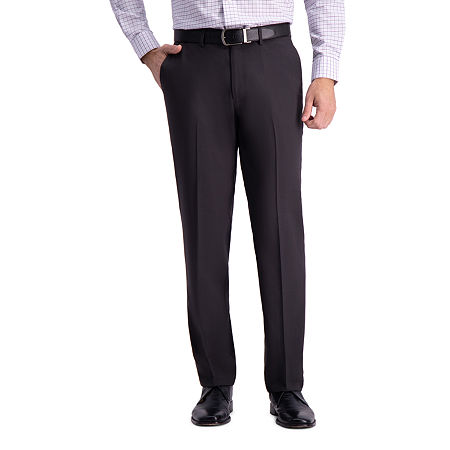 Haggar Premium Comfort Straight Fit Flat Front Dress Pant, 36 34, Black