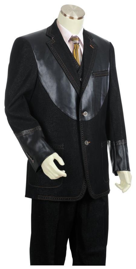 Mens Button Fastener Black Notch Lapel Zoot Suit