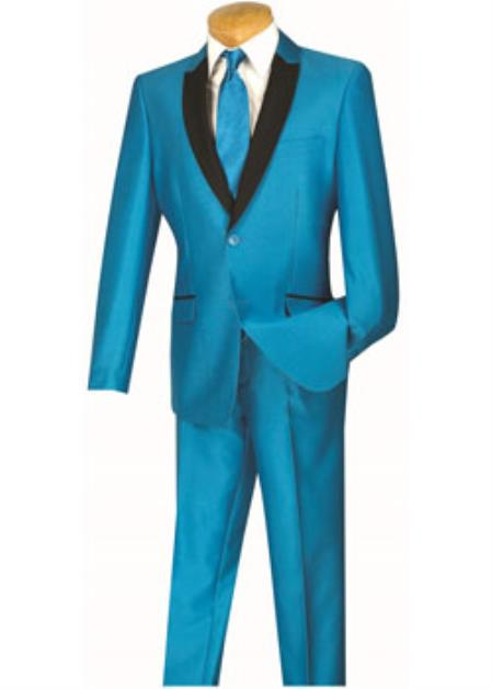 Mens Slim Turquoise Baby blue Suit Tuxedo Dinner jacket Sport coat