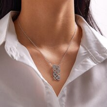 1pc Rhinestone Decor Hollow Out Necklace