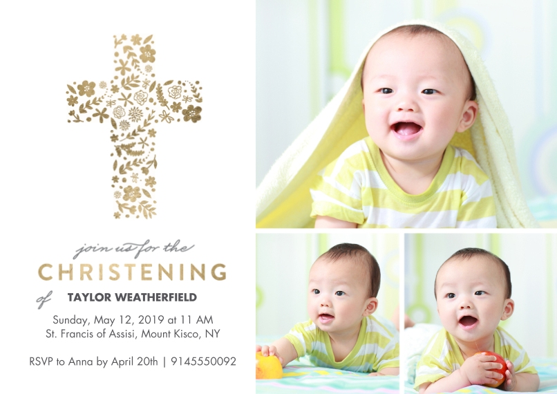 Baptism Invitations 5x7 Cards, Premium Cardstock 120lb with Scalloped Corners, Card & Stationery -Baptism Floral Cross