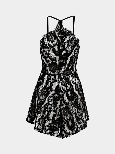 Yoins Black Hollow Paisley Lace Cami Playsuit