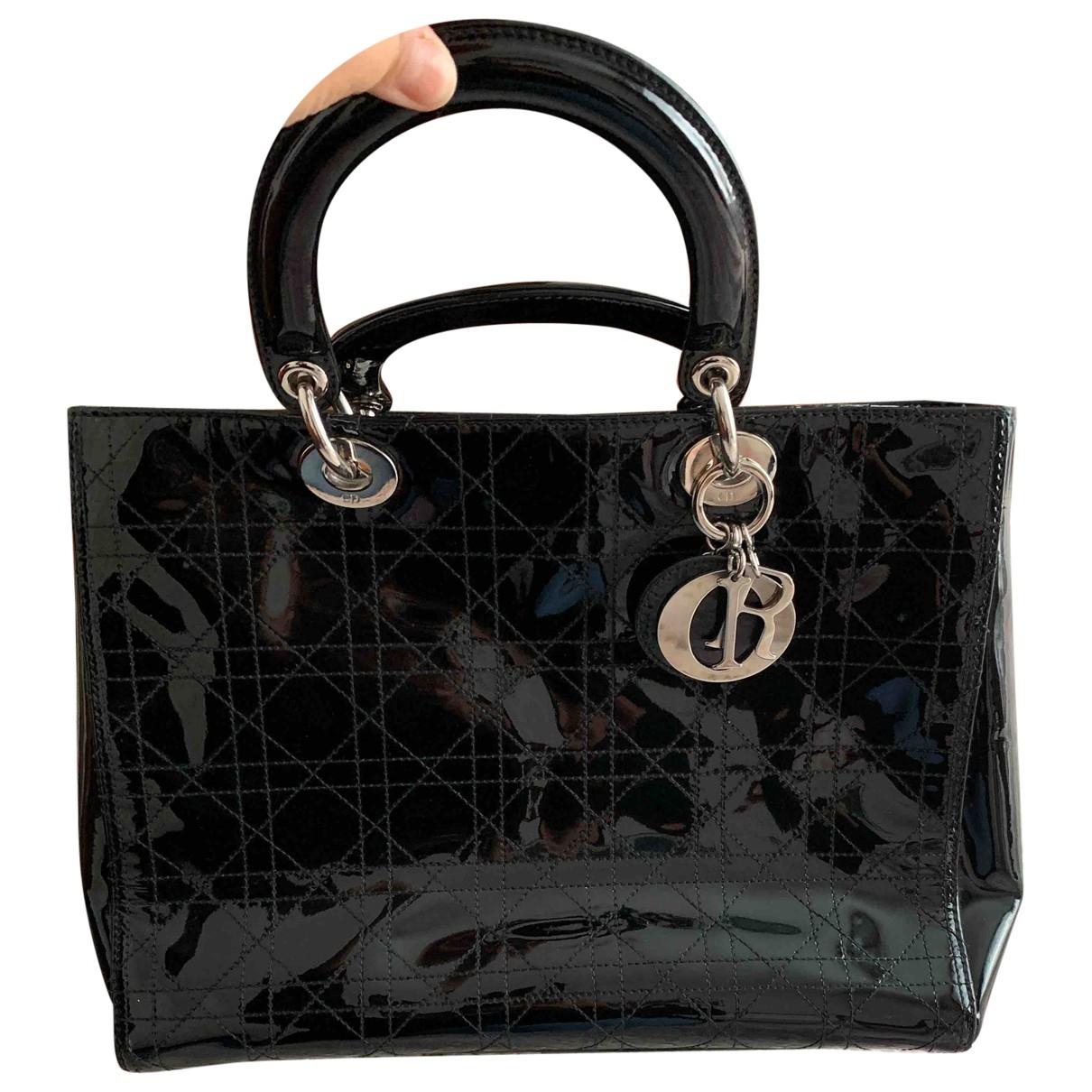 Dior Lady Dior Black Patent leather handbag for Women \N