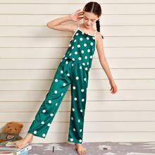 Cami Schlafanzug Set mit Punkten Muster und Schleife vorn