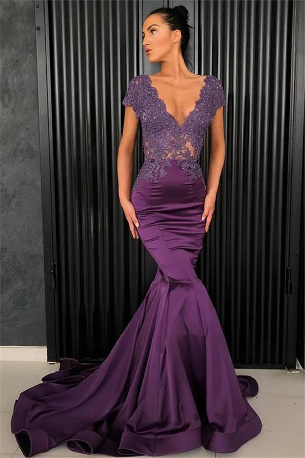 Sexy V-Ausschnitt Abendkleider 2021   Perlen Abendkleider Meerjungfrau Lang