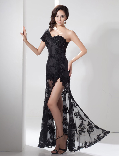 Milanoo Slit Evening Dress Illusion Train Lace Applique Beading One Shoulder Side Split Maxi Party Dress  wedding guest dress