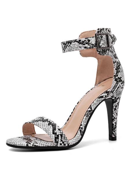 Milanoo Sandalias de tacon alto Zapatos de sandalia con correa de tobillo con diseño de serpiente de punta abierta Zapatos de sandalia