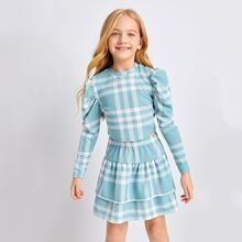 Girls Gigot Sleeve Plaid Top and Layered Skirt Set