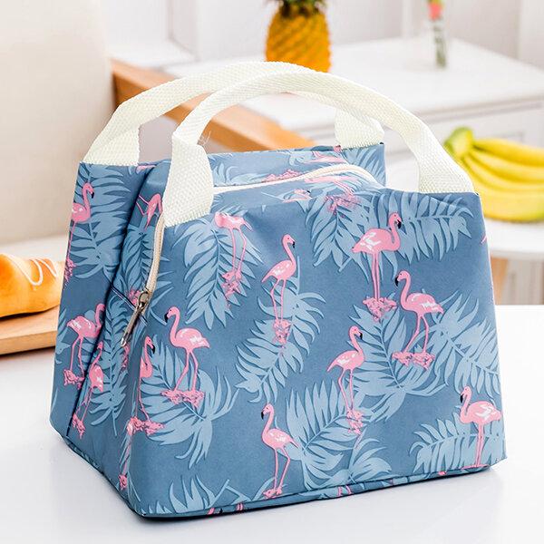Flamingo Cactus Insulation Cooler Thermal Oxford Food Storage Bag Picnic Container Tote Bag
