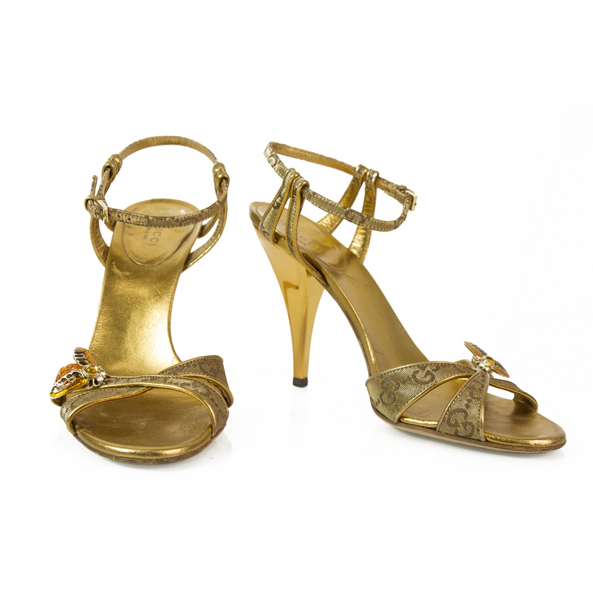 Gucci \N Gold Leather Sandals for Women 37 EU