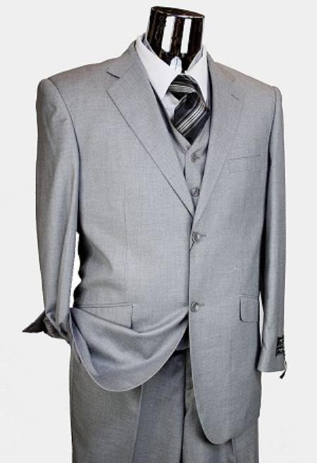 2 Button 3 Piece Light Grey Italian Designer Suit Mens