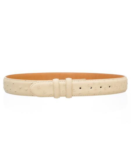 Men's Ostrich Quill Skin 1 1/2'' width Belt Winter White