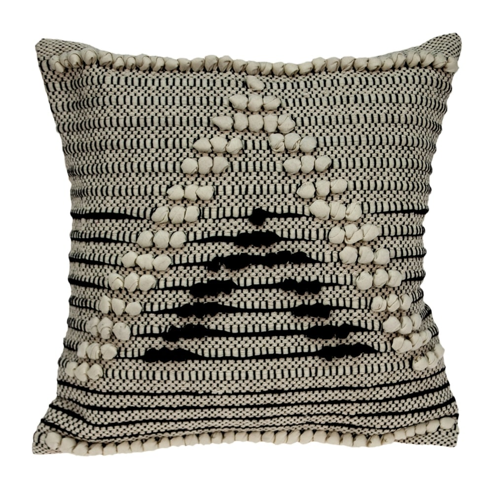 Parkland Collection Abali Transitional Black and White Pillow Cover (Down - Accent)