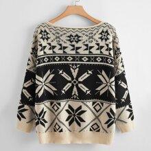 Plus Drop Shoulder Geo Pattern Sweater