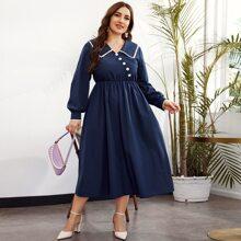 Plus Eyelet Embroidered Sailor Collar Asymmetrical Button Front Dress