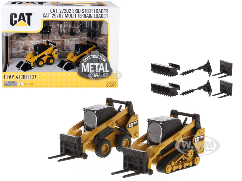 Set of 2 pieces CAT Caterpillar 272D2 Skid Steer Loader and CAT Caterpillar 297D2 Multi Terrain Track Loader with Accessories 1/64 Diecast Models by