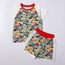 Toddler Boys Camo & Cartoon Graphic Raglan Sleeve PJ Set