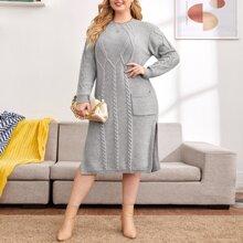 Pulloverkleid mit M-Schlitz und doppelten Taschen