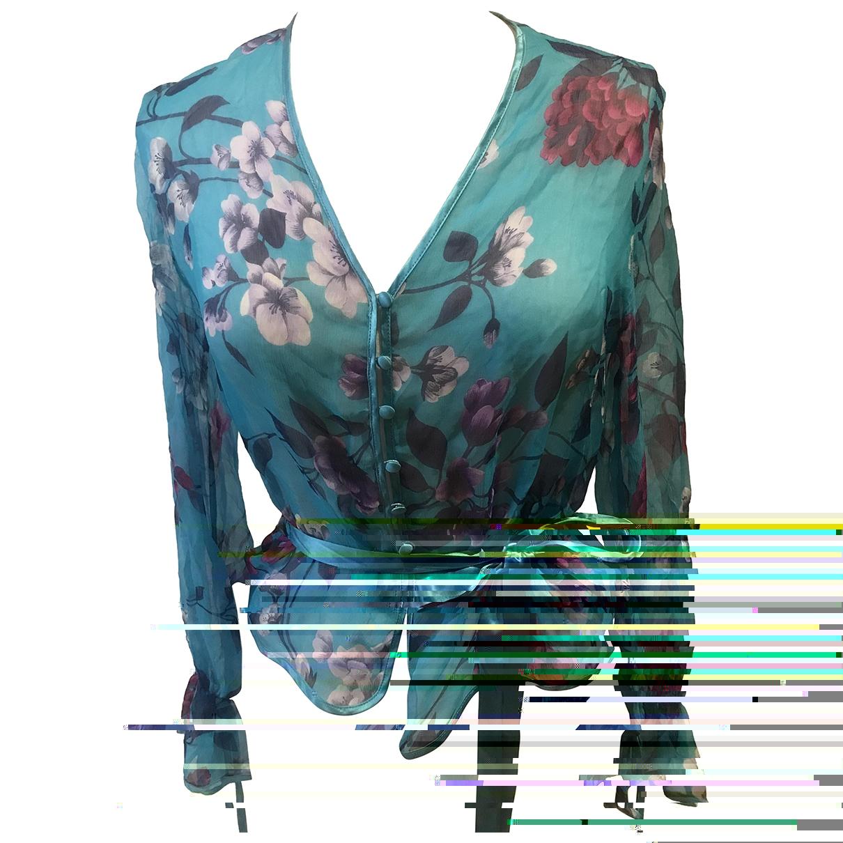 Vannina Vesperini - Top   pour femme en soie - turquoise