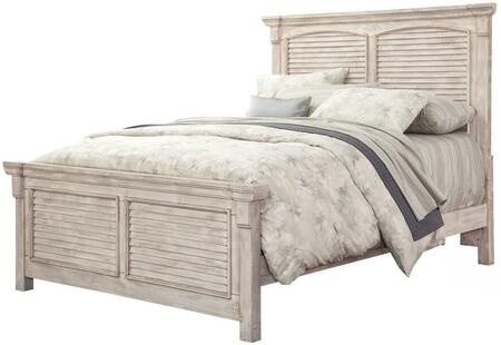 Cottage Traditions Crackled White 6540-66SQBED King Square Panel Bed with Distressed Detailing  Molding Details and MDF Construction in Crackled
