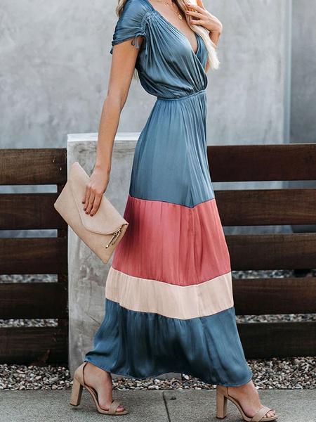 Milanoo Women Maxi Dresses Blue Short Sleeves V-Neck Pleated Long Dress