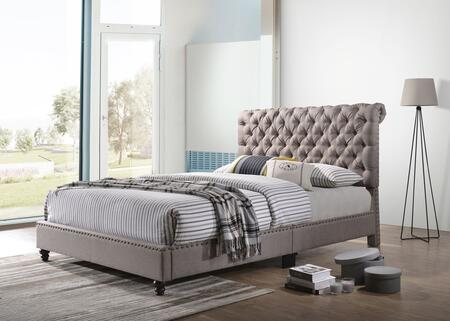 G1955-QB-UP Julie Collection Queen Size Bed with Faux Leather  Turned Legs  Button Tufted Details  and Nail Head Accents  in