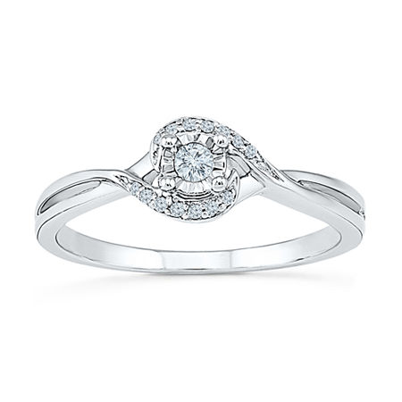 Promise My Love Womens 1/10 CT. T.W. Genuine White Diamond Sterling Silver Round Promise Ring, 8 , No Color Family