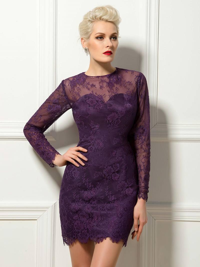 Timeless Long Sleeves Short/Mini Length Sheath Cocktail Dress