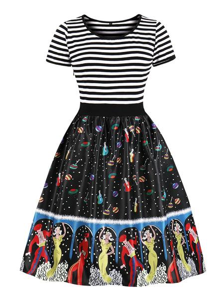 Milanoo Patinador vestidos de cuello de la joya de manga corta plisada rayas en capas Fit Casual y vestido de la llamarada