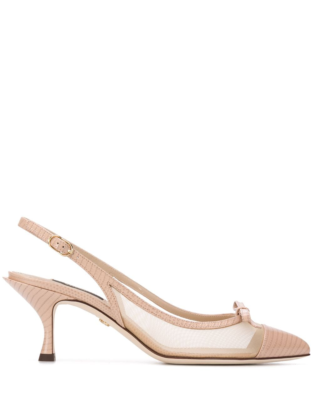 Slingback Leather Pumps With Side Net