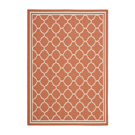 Safavieh Courtyard Collection Crispian Geometric Indoor/Outdoor Area Rug, One Size , Red