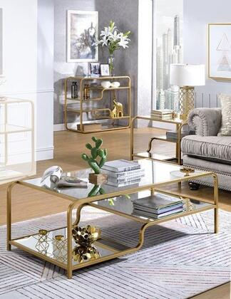 Astrid Collection 810903SET 3 PC Living Room Table Set with 52 Coffee Table  36 Sofa Table and 28 End Table in Gold