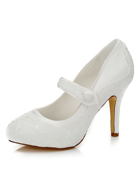 Milanoo Ivory Wedding Shoes Embroidered Elegant Satin High Heel Bridal Shoes
