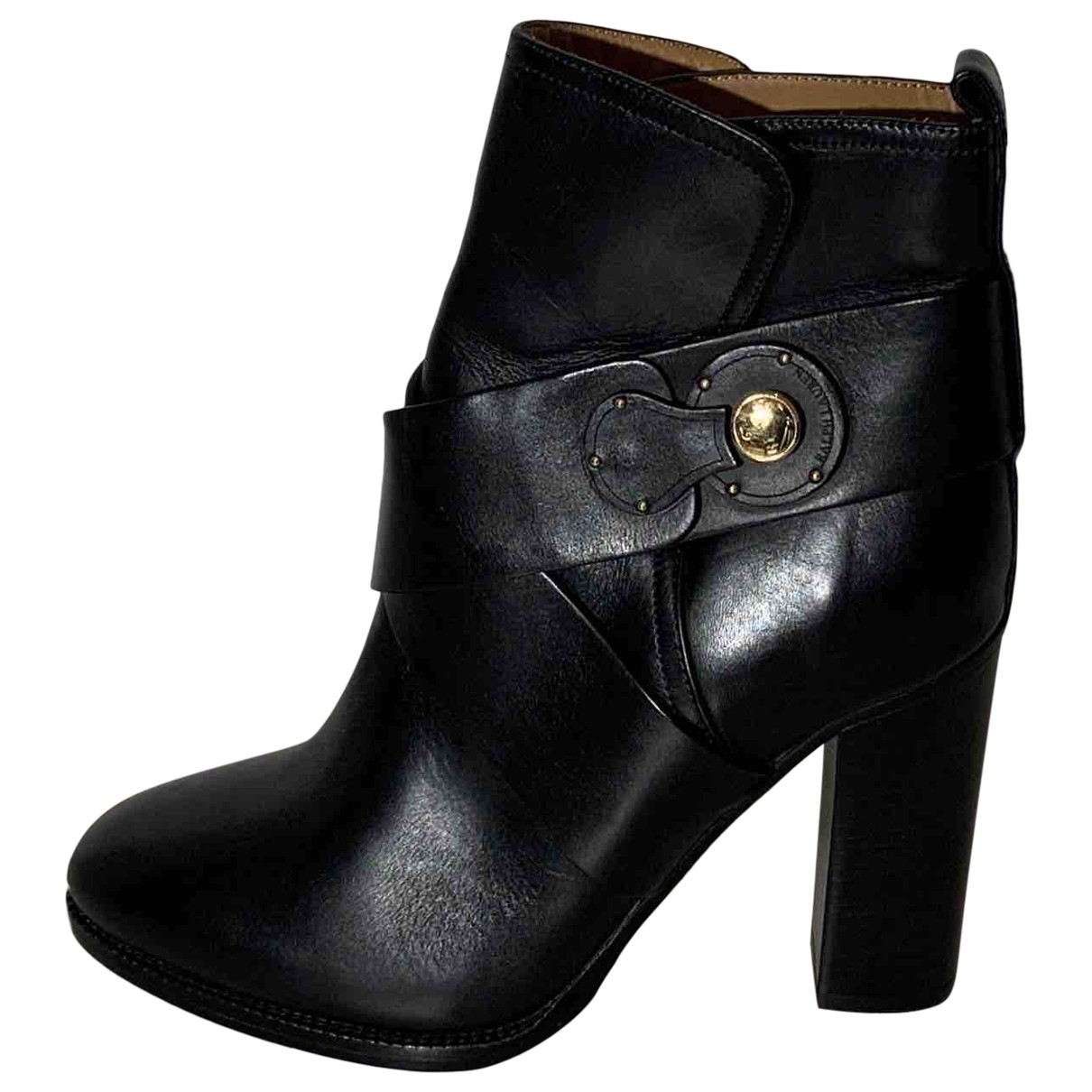 Ralph Lauren \N Black Leather Ankle boots for Women 37 EU