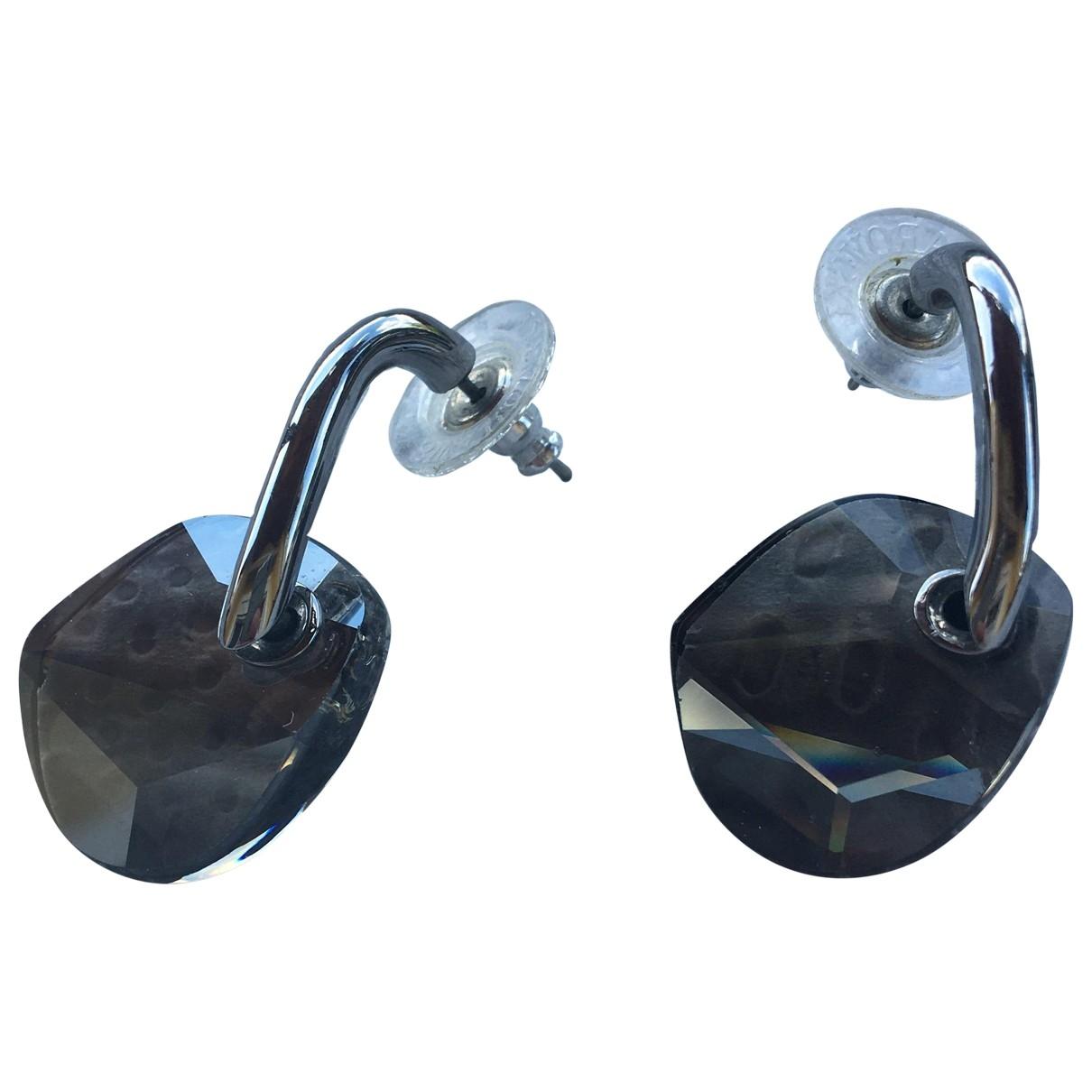 Swarovski - Boucles d'oreilles   pour femme en cristal - anthracite