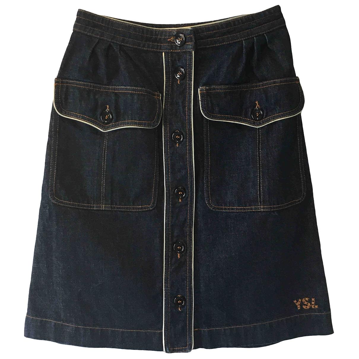 Yves Saint Laurent \N Rocke in  Blau Denim - Jeans