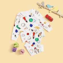 Conjunto de pijama de niñitos con dibujos animados