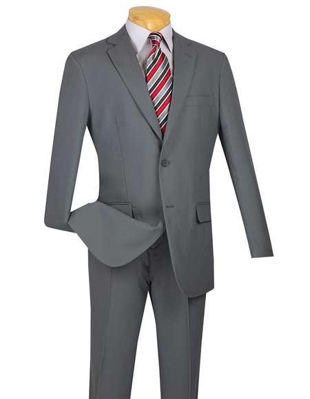 Men's 2 Button Cheap Slim Fit Suit With Flat Front Pant Gray