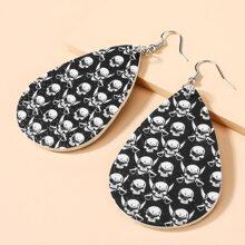 Ohrringe mit Halloween Schaedel Muster Anhaenger