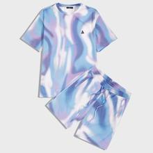 Men Patch Detail Tie Dye Top & Shorts Set