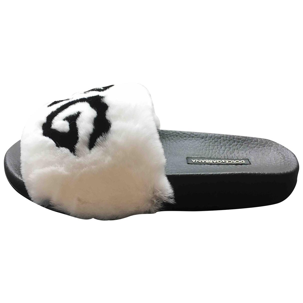 Dolce & Gabbana \N Black Rabbit Sandals for Women 36 EU