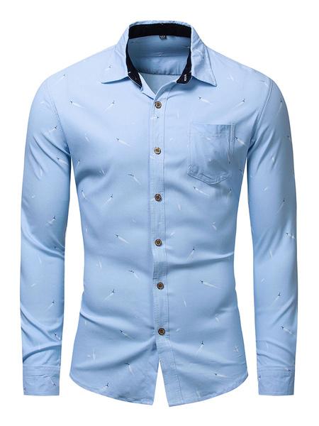 Milanoo Men\'s Regular Fit 100% Cotton Printed Shirt In Blue
