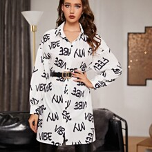 Letter Graphic Longline Blouse Without Belt