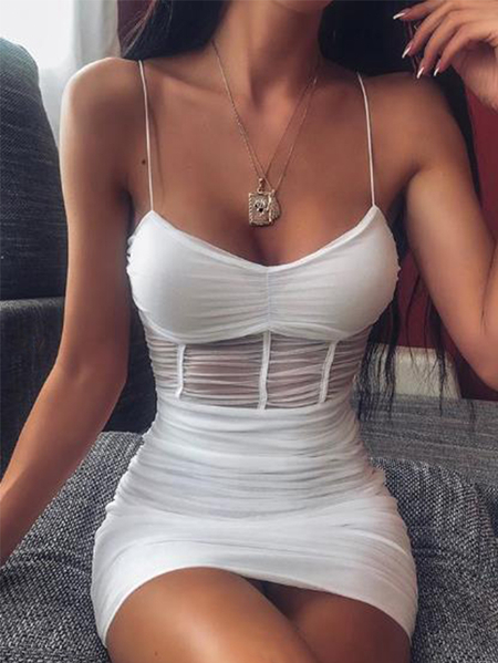 YOINS White Mesh Backless Design Ruched Spaghetti Strap Sleeveless Dress