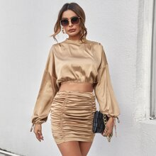 Mock Neck Knot Cuff Satin Top & Ruched Detail Skirt Set